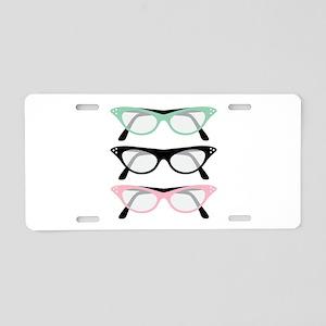 Retro Glasses Aluminum License Plate