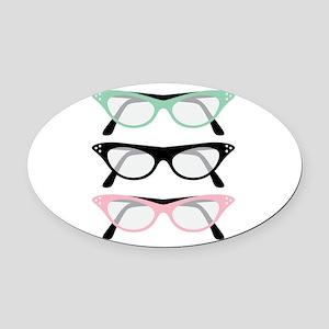 Retro Glasses Oval Car Magnet