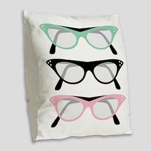 Retro Glasses Burlap Throw Pillow