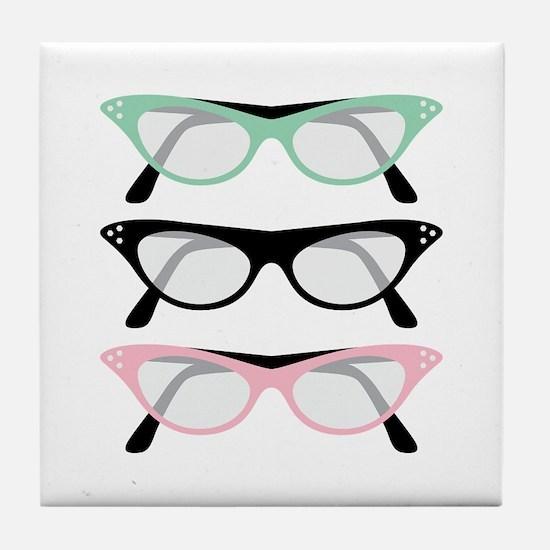 Retro Glasses Tile Coaster