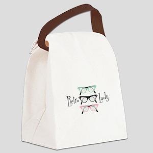 Retro Lady Canvas Lunch Bag