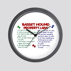 Basset Hound Property Laws 2 Wall Clock