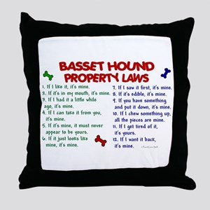 Basset Hound Property Laws 2 Throw Pillow