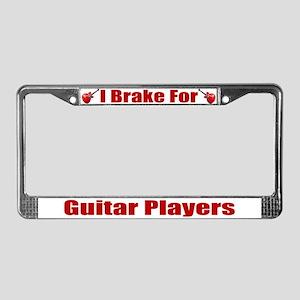 I Brake For Guitar Players License Plate Frame