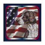 German Shorthair Pointer USA Flag Tile Coaster