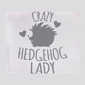 Crazy Hedgehog Lady Throw Blanket