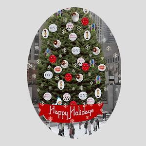 Skating Happy Holidays Oval Ornament