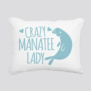 Crazy Manatee Lady Rectangular Canvas Pillow