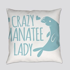 Crazy Manatee Lady Everyday Pillow