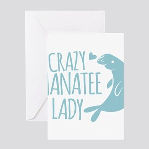 Crazy Manatee Lady Greeting Cards