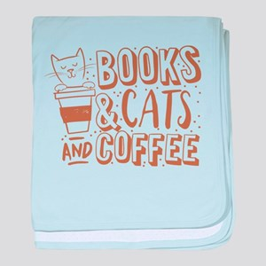 Books and cats and coffee baby blanket
