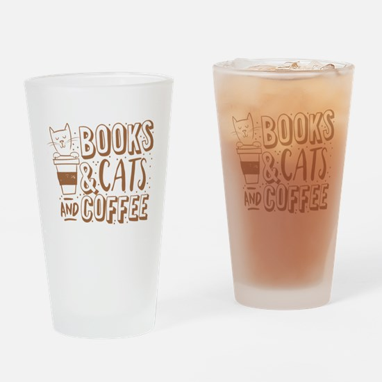 Books and cats and coffee Drinking Glass