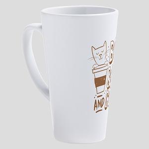 Books and cats and coffee 17 oz Latte Mug