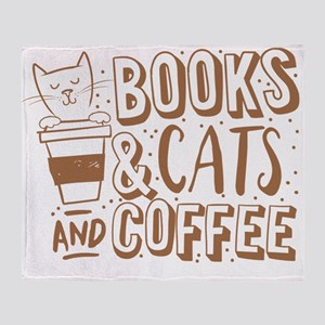 Books and cats and coffee Throw Blanket