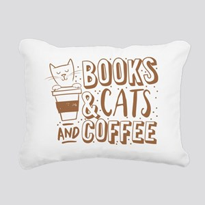 Books and cats and coffe Rectangular Canvas Pillow