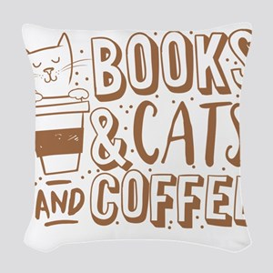 Books and cats and coffee Woven Throw Pillow