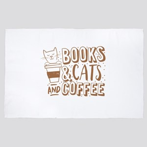 Books and cats and coffee 4' x 6' Rug