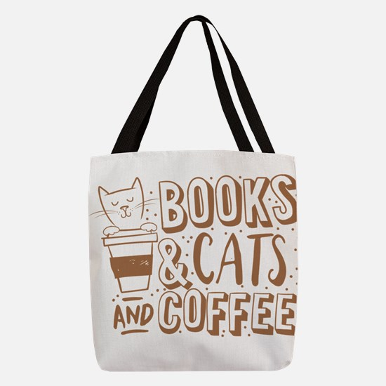 Books and cats and coffee Polyester Tote Bag