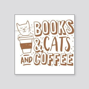 Books and cats and coffee Sticker