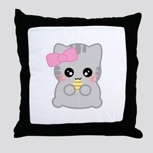Easter Fun Neko Throw Pillow