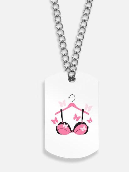 Breast Cancer Bra Dog Tags
