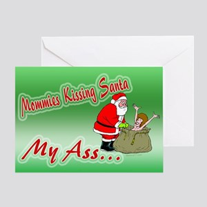 Mommie's Kissing Santa Greeting Card