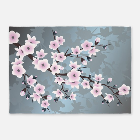 Pink Blue Cherry Blossoms 5'x7'Area Rug
