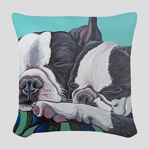 Boston Terrier Woven Throw Pillow