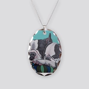 Boston Terrier Necklace Oval Charm
