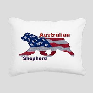 US Flag Aussie Rectangular Canvas Pillow