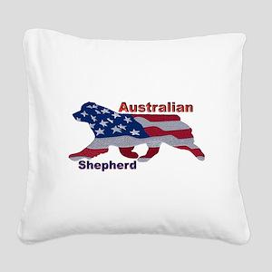 US Flag Aussie Square Canvas Pillow