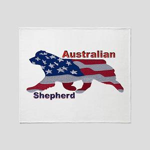 US Flag Aussie Throw Blanket