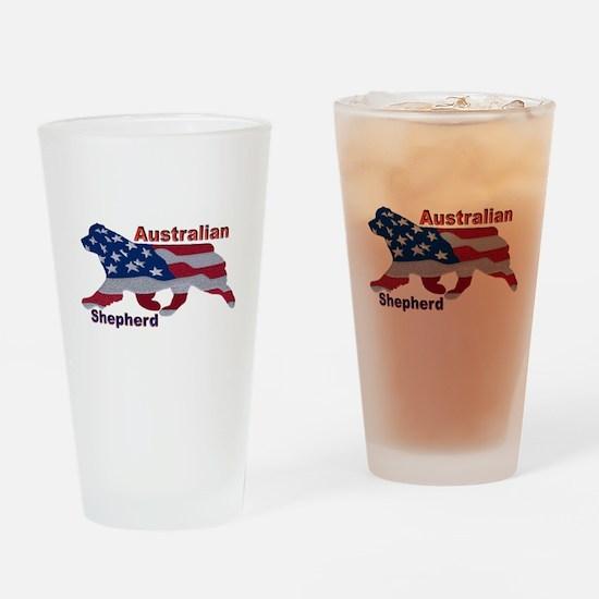 US Flag Aussie Drinking Glass
