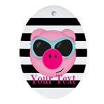 Cool Pink Pig Oval Ornament