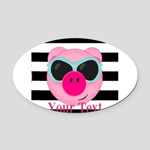 Cool Pink Pig Oval Car Magnet