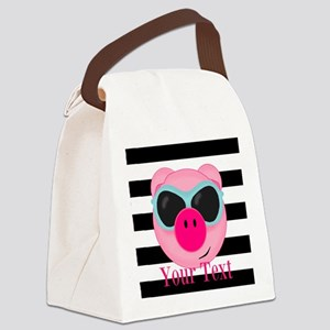 Cool Pink Pig Canvas Lunch Bag