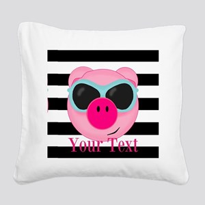 Cool Pink Pig Square Canvas Pillow