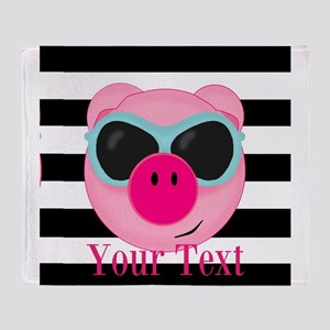 Cool Pink Pig Throw Blanket
