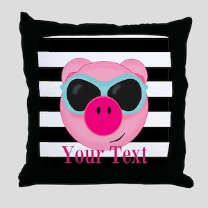 Cool Pink Pig Throw Pillow