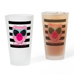 Cool Pink Pig Drinking Glass