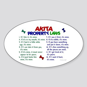 Akita Property Laws 2 Oval Sticker