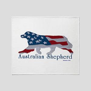American Australian Shephard with a tail Throw Bla