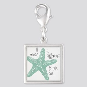 Makes A Difference Silver Square Charm Charms