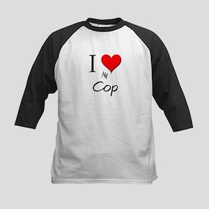 I Love My Cop Kids Baseball Jersey