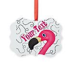 Pink Flamingo Black Ornament