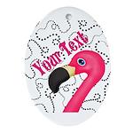 Pink Flamingo Black Oval Ornament