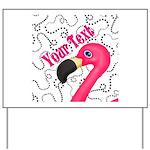 Pink Flamingo Black Yard Sign