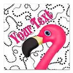 Pink Flamingo Black Square Car Magnet 3