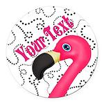Pink Flamingo Black Round Car Magnet