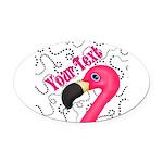 Pink Flamingo Black Oval Car Magnet